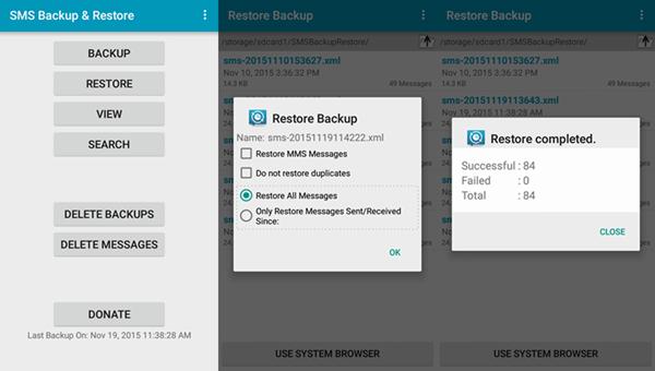 recuperar eliminado mensajes de texto en Android