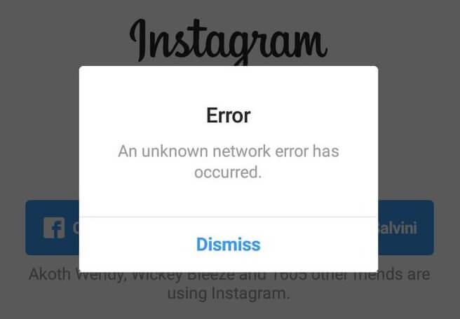 """Repara Instagram """"Un error de red desconocido ha ocurrido"""""""